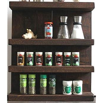 Gewürzregal aus Holz – für die Wand oder stehend – Braun Vintage – 5 Stellflächen – 90 x 60 x 12 cm – Massivholz
