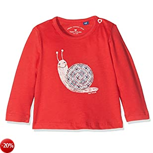 TOM TAILOR Kids Sneaky Snail T-Shirt, Maglia a Maniche Lunghe Bimba, Rosso (Bloody Mary 4717), 80
