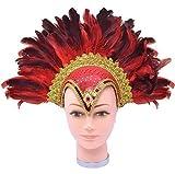 Fancy Me Damen 1920s Jahre Flapper Showgirl Transsexueller Vegas Kabarett mit Juwelen Besetzt Groß Federkopfschmuck Kostüm Kleid Outfit Zubehör - Rot