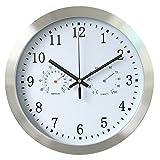 Hito & # 153; 30cm Silent non-tickende metallo cornice orologio da parete w/disegno numrals e vetro frontale della copertura, T&H-white