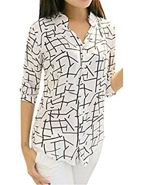 Zolimx La Nueva Camisa de Impresión de la Gasa Elegante de la Manera Señora Bird