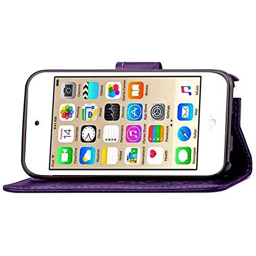 Voguecase® Pour Apple iPhone 6/6s 4,7 Coque, Étui en cuir synthétique chic avec fonction support pratique pour Apple iPhone 6/6s 4,7 (Pissenlit-diamant-Gris)de Gratuit stylet l'écran aléatoire univers Trèfle à quatre feuilles-Pourpre