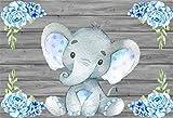 Cassisy 1,5x1m Vinile Compleanno Foto da Sfondo Compleanno ragazzo Carta da parati elefante Tavole di legno Fiori blu Fondali Fotografia Partito Bambini Photo Studio Puntelli Photo Booth