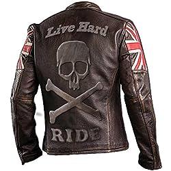 e-clothing UK Drapeau Biker Vintage Style Moto en Cuir véritable Moto Veste Brun foncé avec crâne Logo en Relief sur Dos-XL