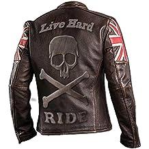 6483e2e0b6922d UK Drapeau Biker Vintage Style Moto en Cuir véritable Moto Veste Brun foncé  avec crâne gravé