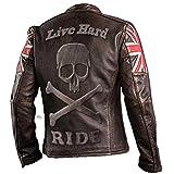 UK Drapeau Biker Vintage Style Moto en Cuir véritable Moto Veste Brun foncé avec crâne gravé Logo sur L arrière-