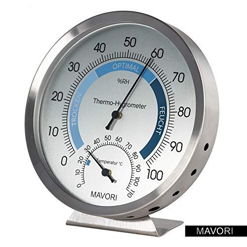 MAVORI Premium Hygrometer mit Thermometer aus hochwertigem Edelstahl mit analoger Anzeige zur präzisen Klimakontrolle für Innen und Außen