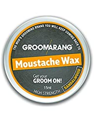 Groomarang Moustache & Beard Wax Extra Strong Sandalwood 100% Natural Hair Care Organic & Vegan 15ml