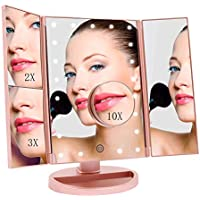 FASCINATE Specchio Trucco con Luci,Specchio per Trucco LED con 21 Illuminato Luci Ingranditore 10x 3X 2X 1x Rotazione 180° Touch Screen Pieghevole Specchio Make up(Oro Rosa )