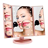 FASCINATE Miroir de Maquillage Triple, Miroir de Bureau Lumineux à LED de Magnification 1X / 2X / 3X /10X Batterie et Charge USB Rotation de 180 Degrés Libre Réglable(Rose Gold)