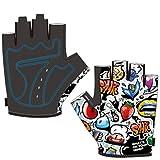 Demingo Kinder Jungen Anti-Rutsch-Halbhandschuhe | Gym Handschuhe-Sporthandschuhe-Outdoor Schwarz