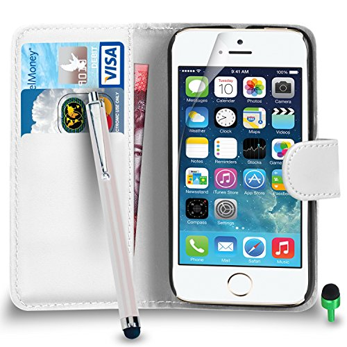 POUR Apple iPhone SE - SHUKAN® Prime Cuir NOIR Portefeuille Cas Coque Couverture avec Big Toucher Style Stylo VERT Cap Protecteur d'écran & Tissu de polissage BLANC