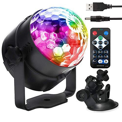 , Party Lampe DiscoLicht Musikgesteuert Mit Remote- Steuerung Bühnenbeleuchtung, Zeitgesteuertes USB Stimmungslicht mit 7 Farben,für Halloween Weihnachten Disco Party ()