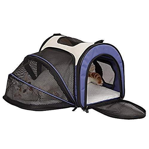 YYZZ, trasportino per Animali Domestici, espandibile, Pieghevole, trasportino per Gatti, Colore Blu (Piccolo: 41 cm x 25 cm x 27 cm)