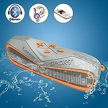 Altavoz Bluetooth 4.1 6W Micrófono Incorporado IPX7 a Prueba de Agua 3.5mm AUX & 8 Horas Continuas de Reproducción Altavoz Portátil para Ducha, Piscina, Playa y Lago Compatible con iPhone, Android y iPod, Color Naranja