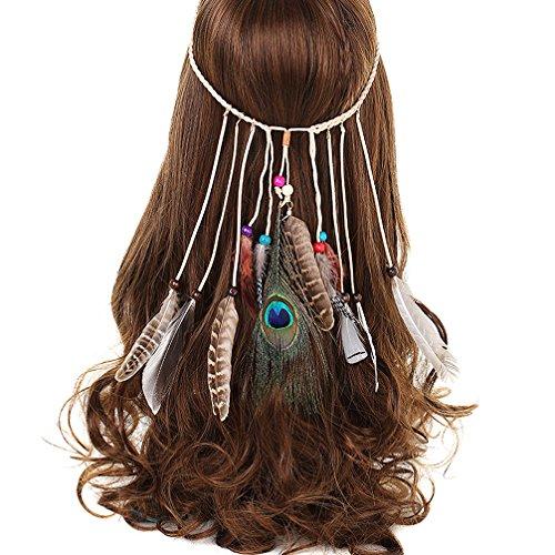 AWAYTR Frauen Feder Quasten Gürtel Stirnband Haarband Haarschmuck Kopfschmuck Haar Hippie Boho Federn Mit Holzperle Haarschmuck Haarbänder