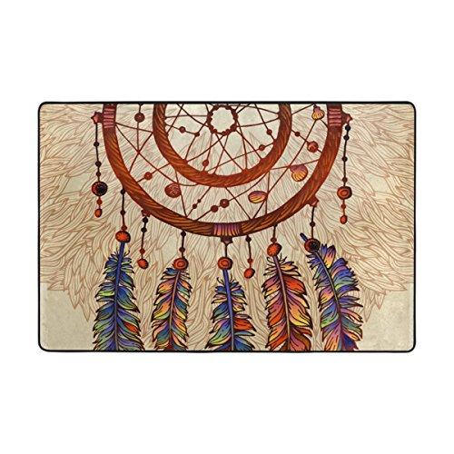 Alaza dream catcher tribal piume etnici coperta di zona 2 x 3 feet, soggiorno camera da letto cucina decorativo lightweight foam stampato tappeto