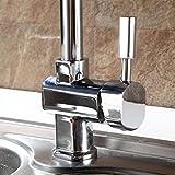 Auralum® Chrom Mischbatterie Küchenarmatur Wasserhahn Armatur Waschbecken Spüle Wasserfall für Küche Type A - 3