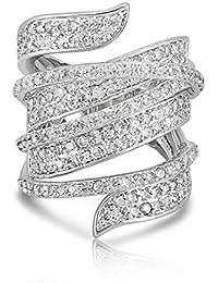 Shaze Rhodium Plated Criss-Cross Cocktail Ring For Women/Girls   Gift For Her