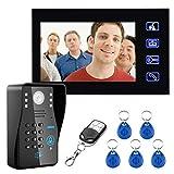 7 pulgadas de timbre con cable RFID contraseña video portero de la puerta timbre de la puerta con cámara IR TV de la serie sistema de control remoto
