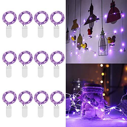 ur-Lichter Lila Lichterketten Batteriebetriebene 7ft 20LED Weihnachtsbeleuchtung versilberten Kupferdraht Lichter Firefly Lichter Mond-Lichter für Partei Weihnachtsdekorationen ()