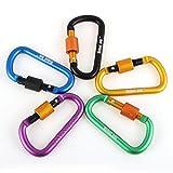 Anneau en aluminium de 8cm en forme de D, Mousquetaire porte-clés, Crochet porte-clés amélioré pour pour le camping, sac à dos de randonnée