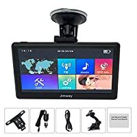 SAT NAV GPS Navigation System, Jimwey 5 inch 8GB 256MB Car Truck Satellite Navigator Device with Post Code POI Search Speed Camera Alerts, Capacitive Touch Screen with Pre-loaded UK and EU Latest 2018 Maps Lifetime Free Updates (5 inch)