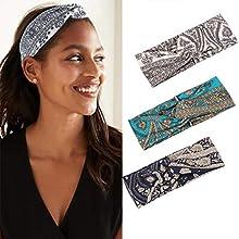 Handcess Boho Criss Cross Headbands White Yoga Hair Bands Elastic Wide Head Scarfs for Women and Girls(Pack of 3)