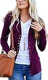 CNFIO Damen Herbst Strickjacke Casual Cardigan Langarm Knopf V-Ausschnitt Outwear Mantel Winter Lila M