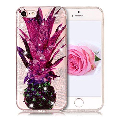 Coque iPhone 7, SpiritSun Clair Transparente Etui Coque en Silicone pour iPhone 7 (4.7 pouces) Flexible TPU Housse Etui Souple Silicone Etui Coque de Protection Mince Légère Etui Téléphone Doux Housse Ananas