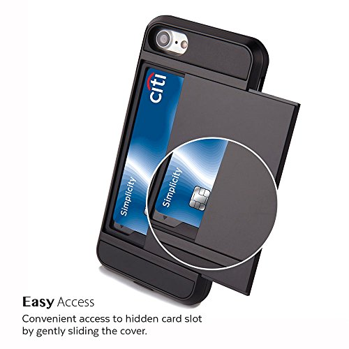 Custodia iPhone 7, GMYLE Apple iPhone 7 Case Custodia Cover [Case con Slot Card] per Apple iPhone 7 [Grigio] Nero