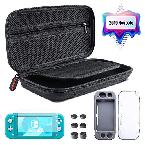 [2019 Neue Version] ECHTPower Tasche für Nintendo Switch Lite 5 in 1 Zubehör Set Harte Tragetasche mit 2 Schutzhülle HD Displayschutzfolie und Daumen Kappen Aufbewahrungstasche für Switch Lite