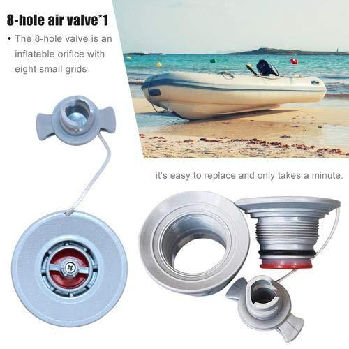 Basisago 62,5 mm Durchmesser 8-Loch-Luftventil Ventil für Schlauchboote Aufblasbares Boot Kajak Kanu Ventil Valve mit Kappe Deckel Ersatzteile Zubehör
