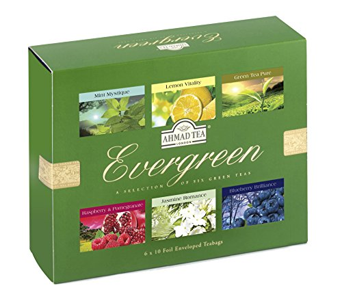 Evergreen Grün (Ahmad Tea Evergreen 6 verschiedene Sorten grüner Tee 6 x 10 Teebeutel á 2 g)