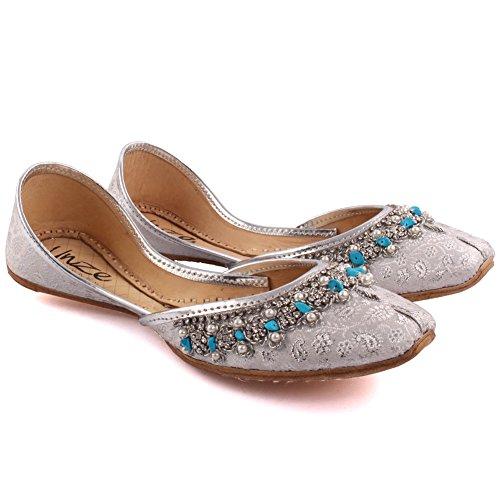 Unze Damen Damen Traditional MATSYA Indischen Casual Leder Flache Khussa Pantoffeln Schuhe UK Größe 3-8 - LS-608 Silber