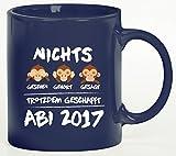 Abschluss Abitur Kaffeetasse Kaffeebecher Abi 2017 - Nichts gesehen, gehört, gesagt von ShirtStreet, Größe: onesize,blau
