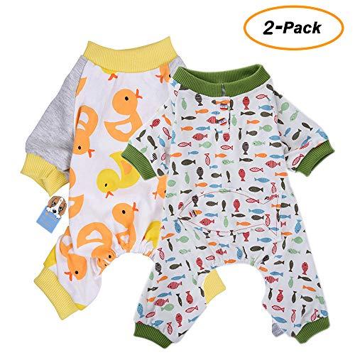 2er Pack Hund Kleidung Hunde Katzen Einteiler weich Hund Schlafanzug Baumwolle Puppy Strampelanzug Pet Jumpsuits Cozy Bodys für kleine Hunde und Katzen von hongyh -