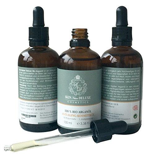 Skin Nature Deluxe Cosmetics Reines marrokanisches Bio Arganöl - nativ - kaltgepresst -100 ml - Arganöl für Haut, Haare, Gesicht, Dekollete - Gesichtsöl, Haar Öl & Anti-Aging Pflege