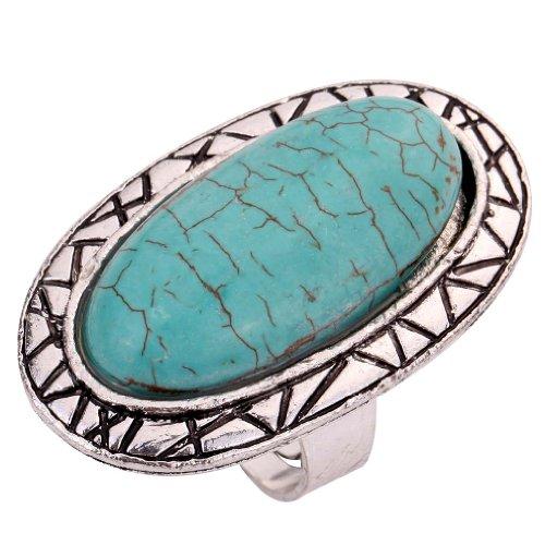 Yazilind Sache-Weinlese Rimous Türkis Tibet Silber Striking Simplicity Längliche Einstellbare Ring für Frauen (Längliche Ring Silber)