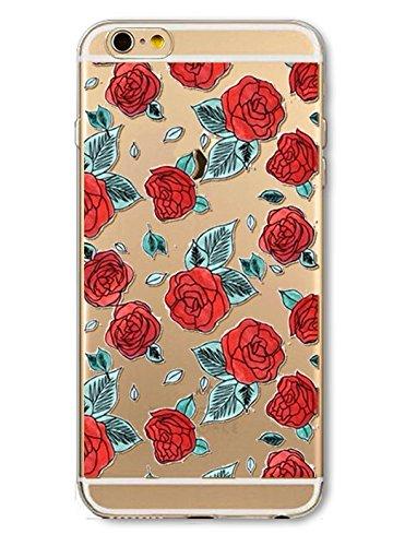 iPhone 8 Handyhülle Schutzhülle Hülle Silikon Cover Case Ultra Dünn Slim Backcover TPU transparent Rosen