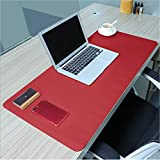 PHIFO Mauspad, groß, 80 x 40 cm, rutschfestes PU-Leder Schreibtischunterlage, ultradünn, 2 mm wasserdichtes Mauspad für Büro, Home-Schreibtische, Gaming-Mauspads, Tastatur-Pads Red + Yellow