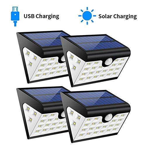 Foco Solar Exterior Luz de solar LED con 28 LED, 300 Lúmenes, Funciona de 8-10 Horas,Lámparas Solares con Sensor de Movimiento & Gran Angular de Iluminación de 280º para Caminos, Escaleras, Entradas