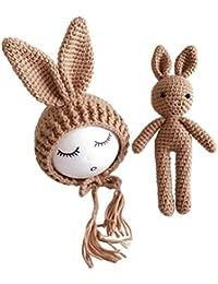 Yeahibaby Fotografía de recién nacido Photo Prop Crochet tejido de punto Conejo de conejo Sombreros para bebés niñas (gris)