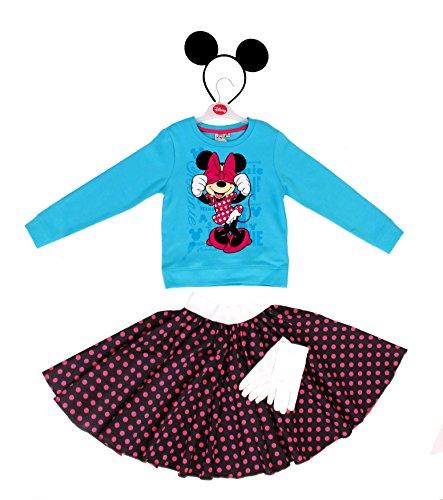 DISNEY ZEICHENTRICK MINNIE MAUS MICKEY MOUSE POLKA DOT = ORIGENAL LIZENSIRTES DISNEY OBERTEIL = BLAUES SWEATSHIRT+MÄUSE OHREN+HANDSCHUHE+POLKA DOT ROCK=OBERTEIL-MEDIUM+SCHWARZER ROCK MIT ROSA PUNKTEN (Dot Polka Rock Minnie Mouse)
