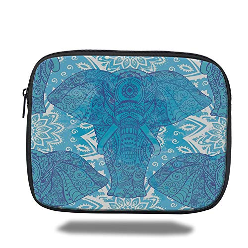 e7c687b66e9f DHNKW Tablet Bag for iPad Air 2/3/4/mini 9.7 Inch,Elephant Mandala,Ocean  Colors Inspired Lotus Flowers Indian Ethnic Backdrop,Turquoise Blue and ...