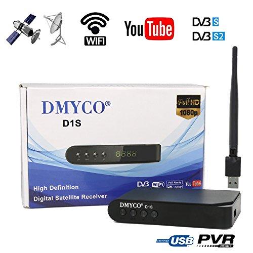 DMYCO Receptor de TV por Satélite DVB-S2 HD Freeview FTA Satélite Decodificador , Soporte Cccam PowerVu Biss Key Youtube + RT5370 USB Wifi Antenna