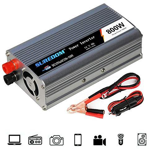 HPDOW KFZ Spannungswandler Wechselrichter, 300W 500W 800W Wechselrichter 12/24v auf 110/230v Inverter mit USB Anschlüsse und Adapter Zigarettenanzünder,24vto110v-800w