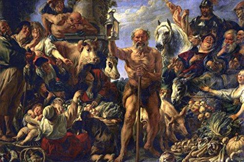 Kunstdruck/Poster: Jacob Jordaens Diogenes mit der Laterne, auf dem Markte Menschen suchend - hochwertiger Druck, Bild, Kunstposter, 85x55 cm