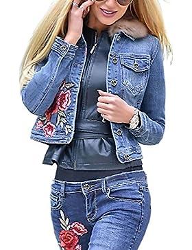 Ruiyige Mujeres Denim Jacket Bordado Floral Botón Corto Jean Tops