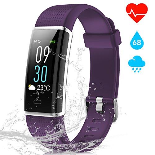 Pulsera Actividad Inteligente con 14 Modos de Deporte y Pantalla Táctil Color, NAIXUES Pulsera Inteligente IP68 con GPS Pulsómetro Podómetro Pulsera de Actividad Mujer Monitor de Frecuencia Cardiáco para IOS y Android (color Púrpura)